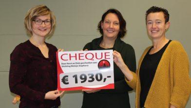 Margje Ponstein ontvangt de cheque van Jenny Witte en Geke de Haan.