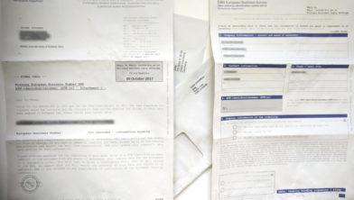 De brief en enveloppen van European Business Number (EBN)