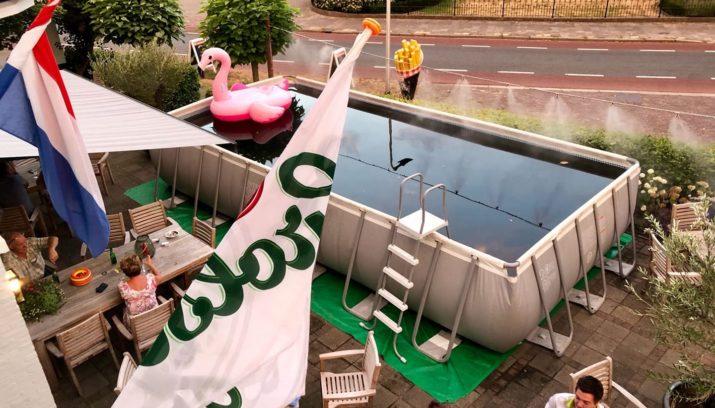Om het hoofd koel te houden een terras met zwembad