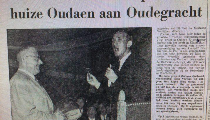 50 jaar terug Utrecht 50 jaar terug: Veritas tekent koopcontract huize Oudaen  50 jaar terug