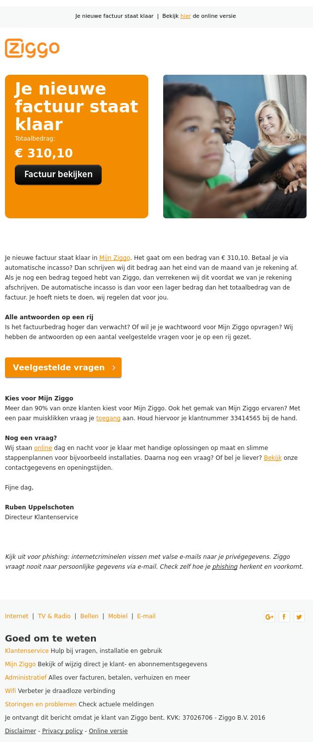 Waarschuwing: 'Ziggo' mail bevat link naar kwaadaardige ...