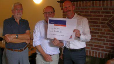 Ad van Heesbeen ontvangt cheque van € 25.000 van Rabobank