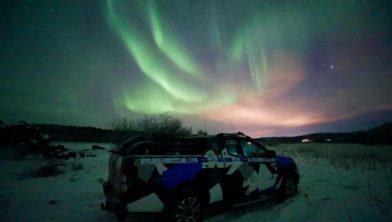 Prachtige foto van het Noorderlicht. Foto is gisteren genomen bij het verblijf van Chris en Marcel in Kirkenes.
