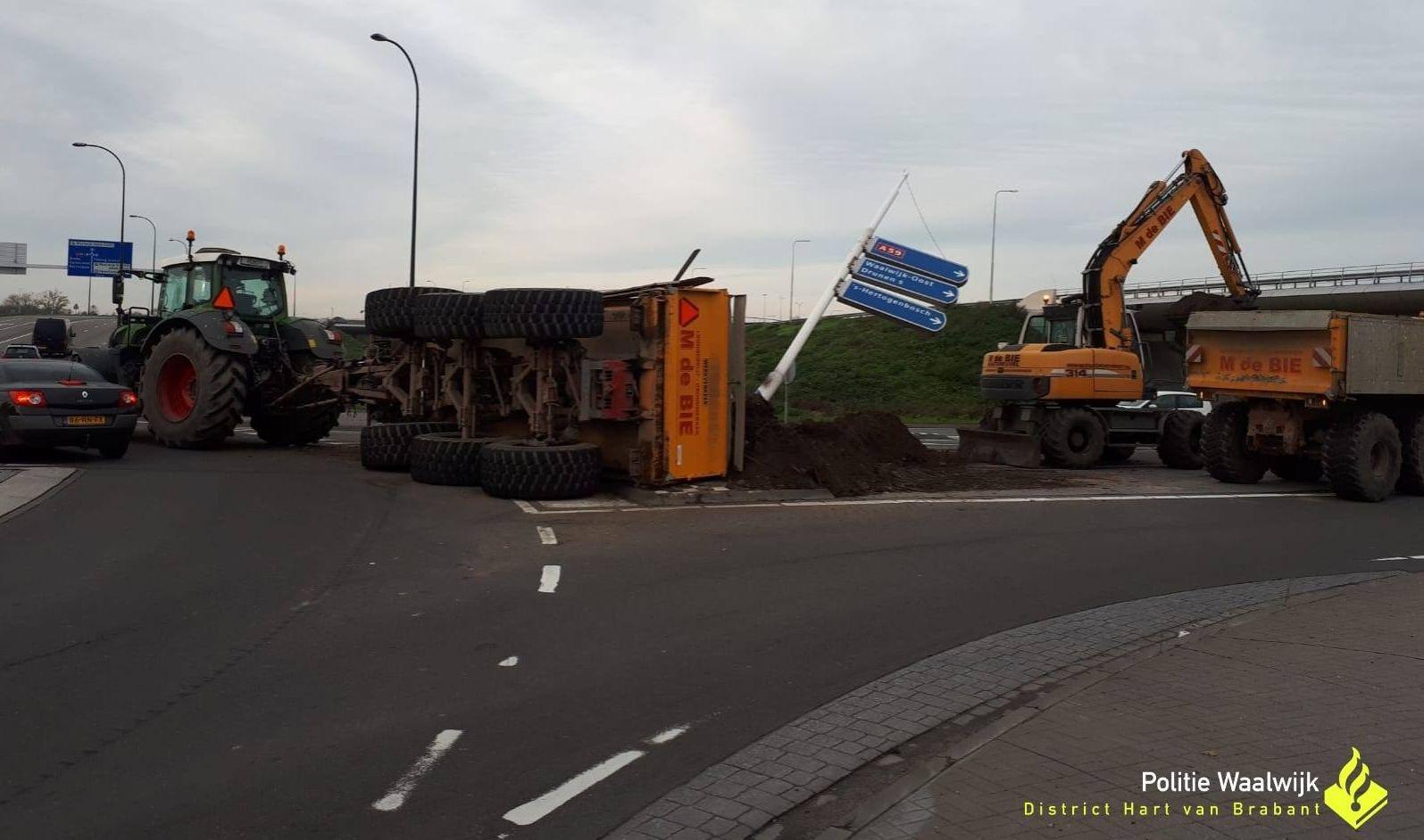 Tractor kantelt en verliest lading - Waalwijk.nieuws.nl