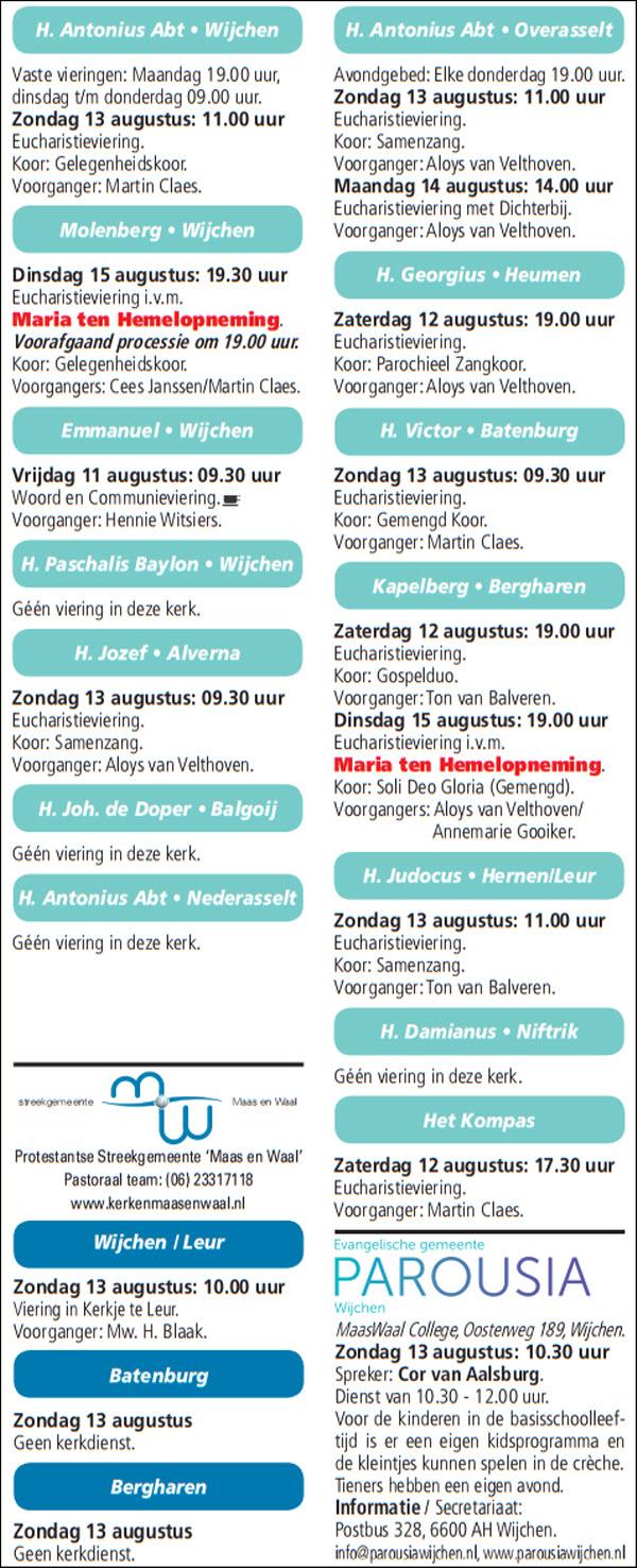 Kerkberichten gemeente Wijchen