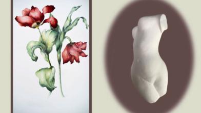 Werk van Ria van Elk (links) en Ria van den Bergh, te zien in de expositie 'Bloei in beeld'.