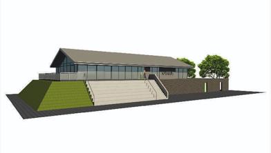 Een impressie van het toekomstige gebouw van vv Winsum.