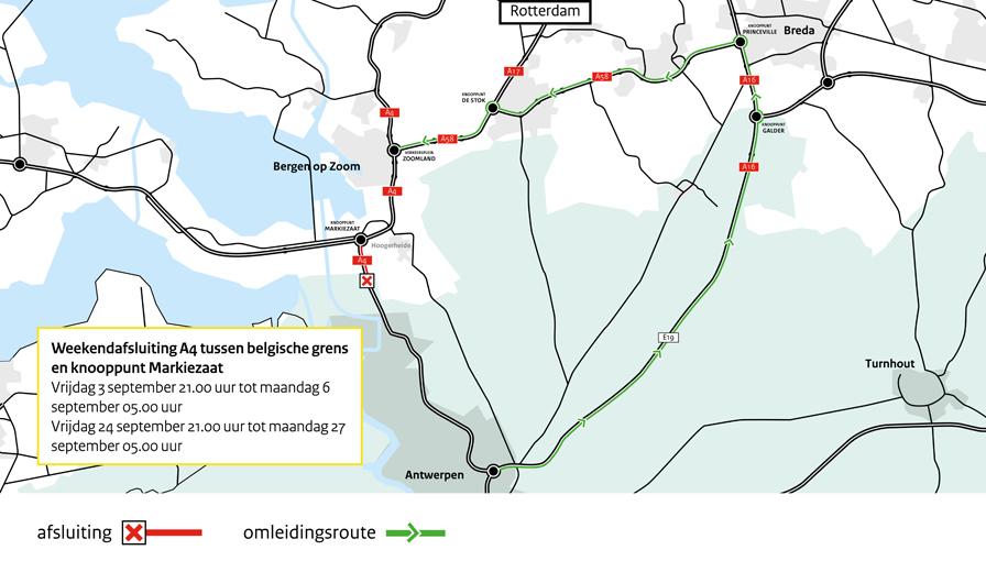 A4: weekendafsluiting tussen Belgische grens en knooppunt Markiezaat