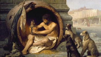 De Griekse filosoof Diogenes (bijgenaamd 'de cynicus') had nog maar weinig kosten.