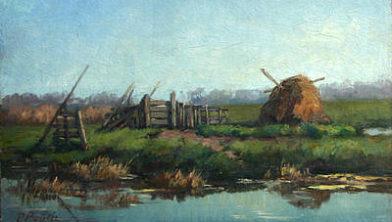 Boerenland geschilderd door de Nederlander Paul Bodifée (1866-1938).