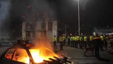 Beeld van een oefensessie (met vuurwerktraining) in Wijster.