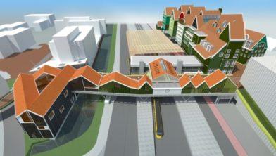 De toekomstige spooroverbouwing met winkels.