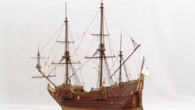 Model van een laat zeventiende eeuws fluitschip: de Derfflinger.