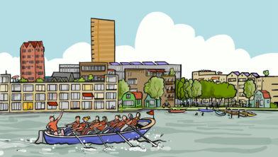 De toekomstige wijk gezien vanaf de Zaan.