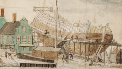 Cover Projectplan voor replica 17e eeuwse scheepswerf met fluitschip aan de Zaan.