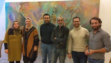 De vijf cursisten en beeldend kunstenaar Norbert Wille.