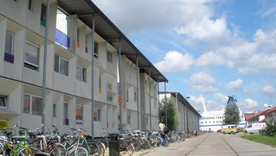 Tijdelijke woningen in de Amsterdamse Houthaven.