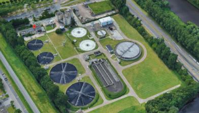 De (niet-bemonsterde) rioolwaterzuiveringsinstallatie in Poelenburg.