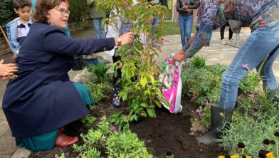 Wijkwethouder Jakobien Groeneveld plant samen met wijkbewoonster en vrijwilliger Karin de boom.