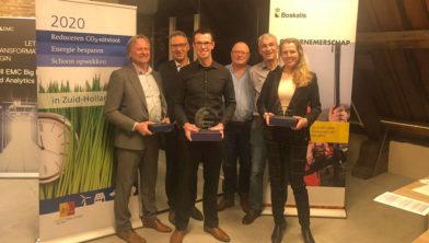 Jury en prijswinnaars van links naar rechts: Kees Hanegraaf (DeltaBloc), Jeroen Tromp (provincie Zuid-Holland), Jos Lesschen (Cannassette), Ben de Vries (Boskalis), Martin de Haan (provincie Zuid-Holland), Tessa van Swaay (Van Swaay duurzaam hout).