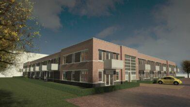 De 55plus-woningen komen op de begane grond en krijgen een terras, de jongerenwoningen komen op de eerste verdieping en krijgen een balkon.