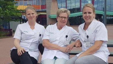 rombosezorgconsulenten Alise van der Grijp, Dineke Dekker, en Iris Lindeboom