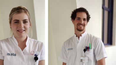 Isala-verpleegkundigen Rensje Brand en Matthijs IJsselstijn
