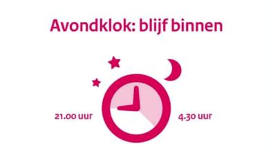 Avondklok van 21.00 uur tot 4.30 uur