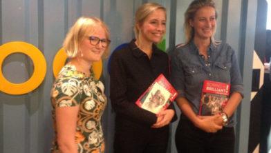 De finalisten (met in het midden winnares Eline Leijten)