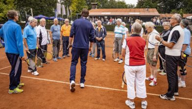 Oldenzaal, Netherlands, August 15, 2019, TC Ready, Old Stars Program, with Tom Okker and Sjaak Swart Photo: Tennisimages/Henk Koster