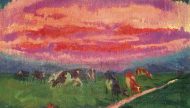 Vrijend paartje bij de koeien