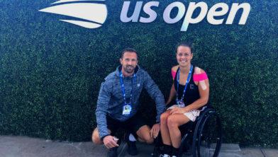 Buis met haar coach Wouter Kropman op de US Open.