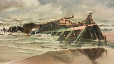 'Scheepswrak op het strand van Wijk aan Zee' van J. van Fucht