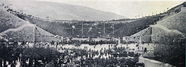 Panathinaiko Stadion in Athene tijdens de eerste dag van de Spelen in 1896 (foto: Wikipedia)