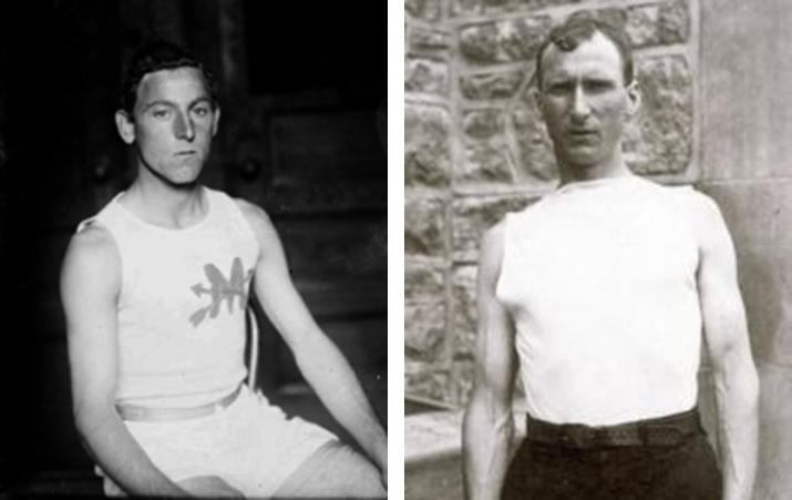 Fred Lorz en Thomas Hicks (foto's: Wikipedia)