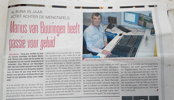 (interview met Marius ten tijde van zijn werk bij Radio Beverwijk)