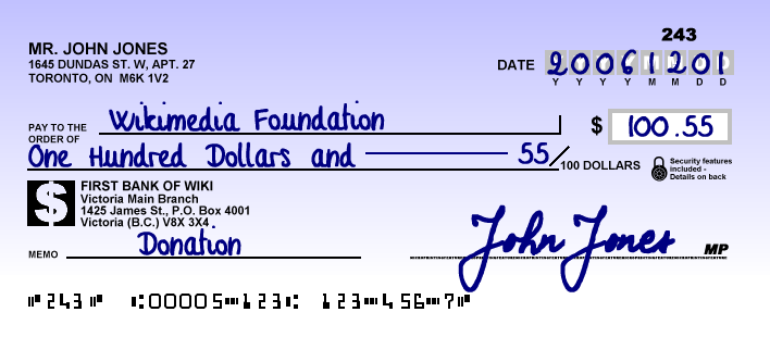 Canadese cheque uit 2006