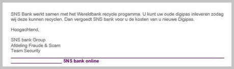 Fragment mail 'SNS Bank'