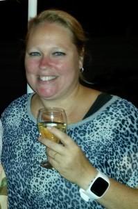 Jill met een wijntje