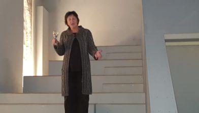 Anne Hilderink tijdens de nieuwjaarsbijeenkomst in de Nicolaaskerk.