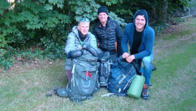 Drie van de Zuidwoldigers die de reis aandurven.