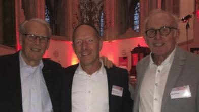 Mathieu Hermans samen met twee oud-Vuelta winnaars Jan Jansen en Joop  Zoetemelk.